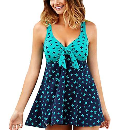 Bikini Swimsuit for Women High Waisted Swimsuits Tummy Control Two Piece Tankini Green