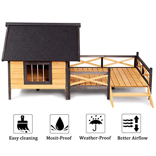 Tangkula Wood Dog House, Cabin Style Large Elevated Weather Waterproof Outdoor Pet Dog House, Lodge with Porch, Spacious Deck for Sunny Nap, Wooden Pet Dog House by Tangkula (Image #7)