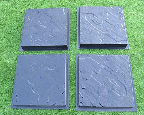 Sold Set 4 pcs Plastic MOLDS Casting Concrete Paving Garden Path Pavement Stone Patio #S28