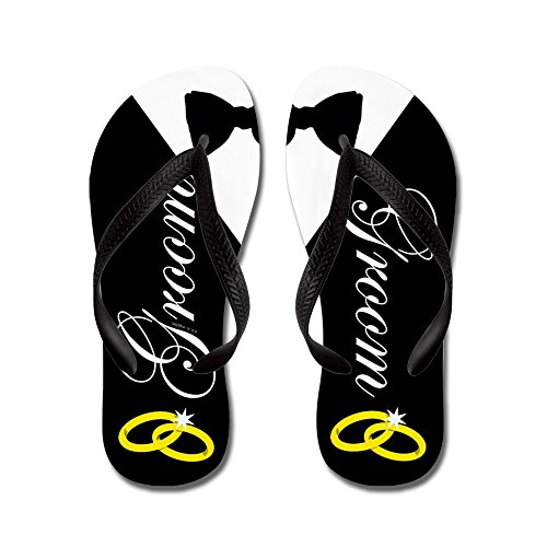 (CafePress Groom Flip Flops, Funny Thong Sandals, Beach Sandals Black)