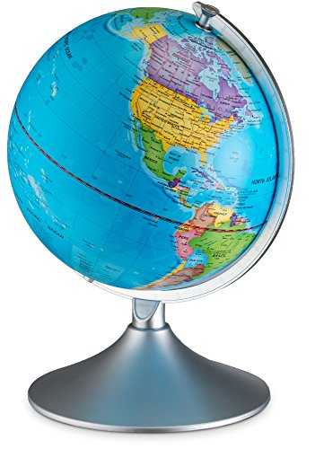 World Illuminated Globe For Kids, 2-In-1 Standing Political Earth Sphere By Day & Glowing Star Constellation Map At Night - AC Adapter Included
