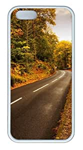 Apple iPhone 5S Cases - Autumn highway TPU Case Cover for iPhone 5S and iPhone 5 - White