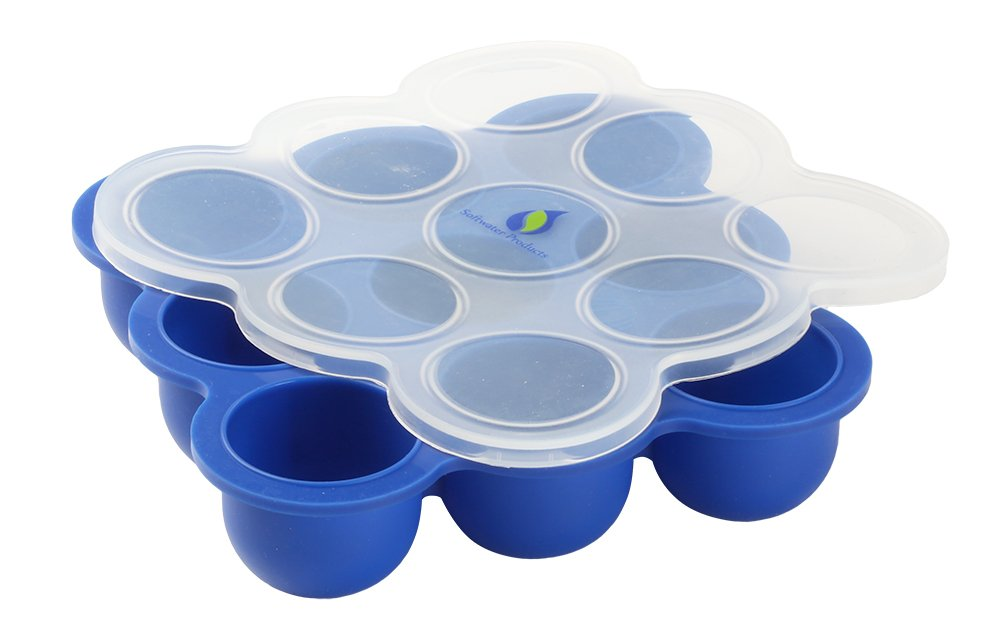 Baby Food Storage Tray with Silicone Clip-on Lid Blue by Softwater Products   B0106PXSSY
