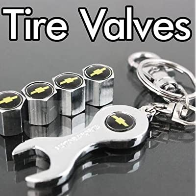 Chevy Tire Valve Caps with Bonus Wrench Keychain: Automotive