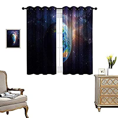 World Blackout Window Curtain Face of Earth in Space View of Asian and Australian Continents and Galaxy Customized Curtains W55 x L39 Dark Blue Green Yellow