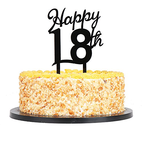 QIYNAO Black Plastic Happy Cake Topper - Birthday,Anniversary Party Acrylic cake Decoration Supplies (18th) -