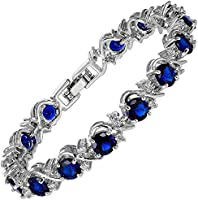 Jewellery Round Cut 5 Colors Choice Gemstones Fine CZ 18K White gold Plated [18cm/7inch] Tennis Bracelet Simple Modern Elegance Prong Setting [Free Jewelry Pouch]