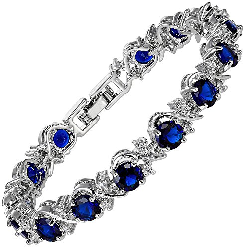 RIZILIA Blossom Round Simulated Blue Sapphire and White Cubic Zirconia 18K White Gold Plated Tennis Bracelet, 7""
