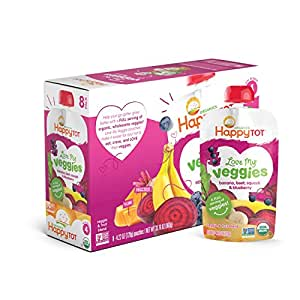 Happy Tot Organic Stage 4 Baby Food, Love My Veggies, Banana, Beet, Squash & Blueberry, 4.22 Ounce (Pack of 16)