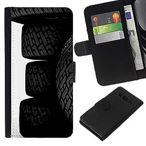 Planetar® Modelo colorido cuero carpeta tirón caso cubierta piel Holster Funda protección Para Samsung Galaxy A3 / SM-A300 ( Car Tires Wheels )