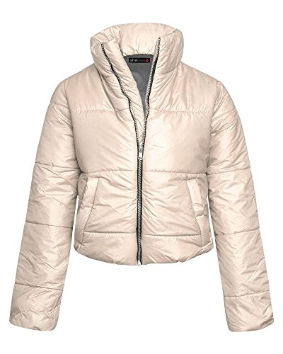 Puffer Womens Padded Fashion Jacket Cropped Winter SheLikes Puffa Coat Top Warm Stone Quilted qfSwqnEB