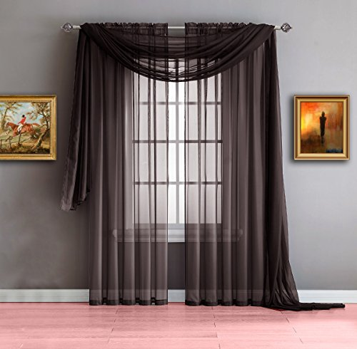 Warm Home Designs Chocolate Brown Sheer Window Curtains. Each Voile Drape Is 56 X 84 Inches in Size. Great for Kitchen, Living Room, Kids Bedroom or Office. 2 Panels Included. Color: Chocolate 84