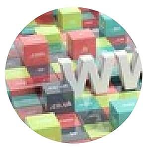 alfombrilla de ratón WWW en 3D con cubos de colores y extensiones de dominio - ronda - 20cm