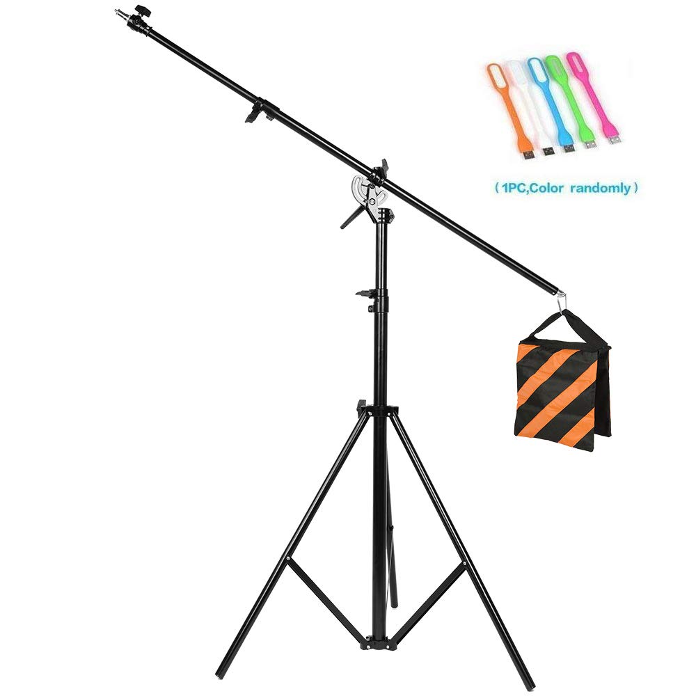 CONXTRUE Max 13.2ft/400cm Two Way Rotable Aluminum Adjustable Tripod Boom Light Stand with Sandbag for Studio Photography Video +CONXTRUE UBS LED Free Gift by CONXTRUE
