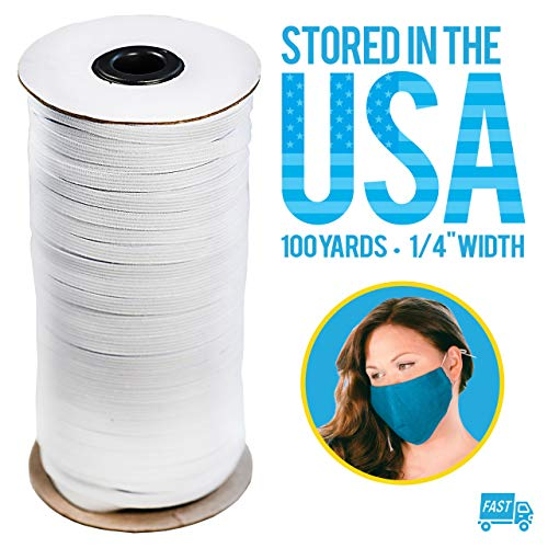 100 Yard 1/4 Inch (6mm) Wide Elastic Band for Sewing Crafts DIY Mask, High Elasticity Knit Strong and Stretchy White Cord (1mm Thickness)