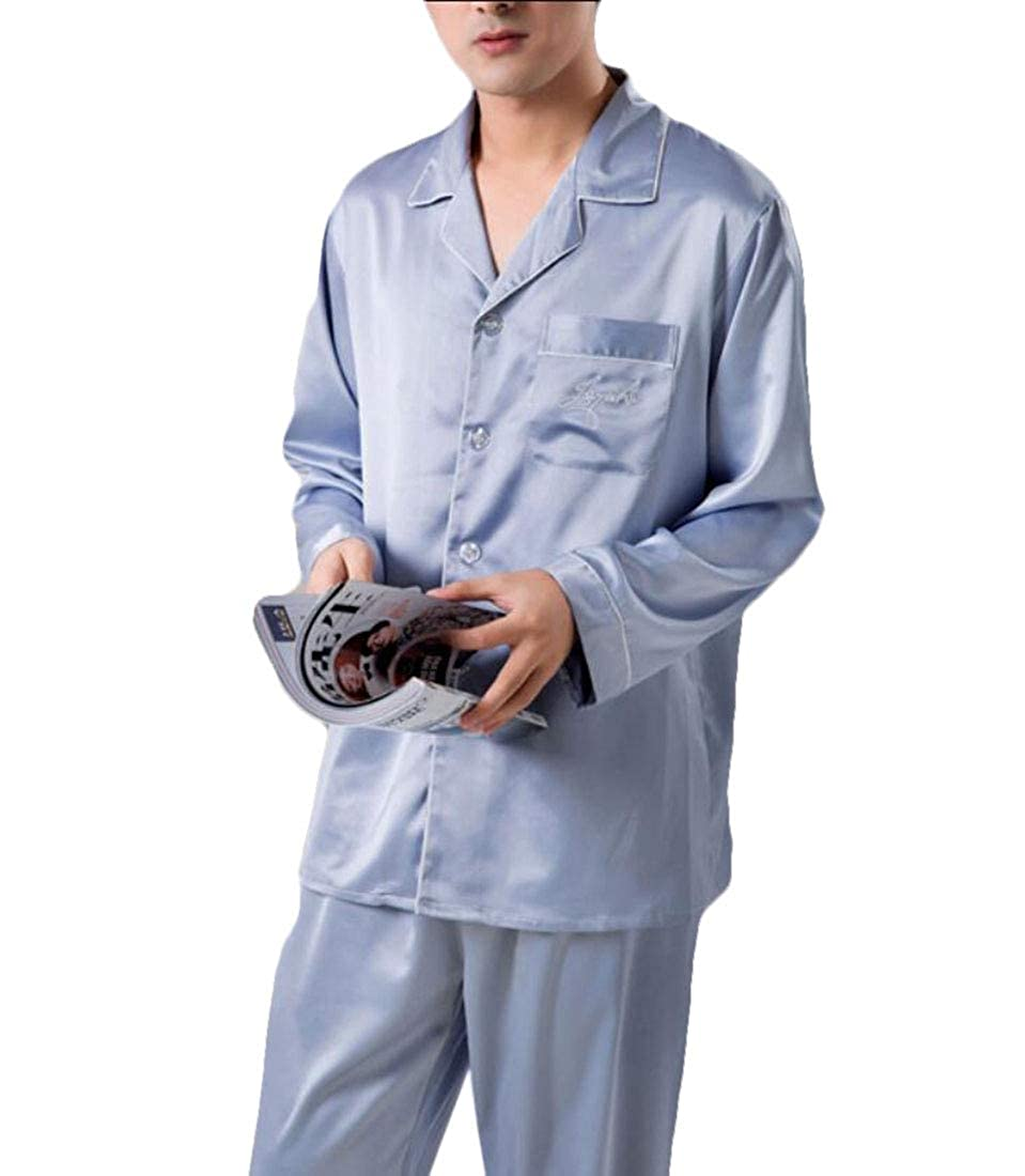 WSPLYSPJY Men Sleepwear Silk Pajama Sets Pajama Shirt and Pant Satin Loungewear