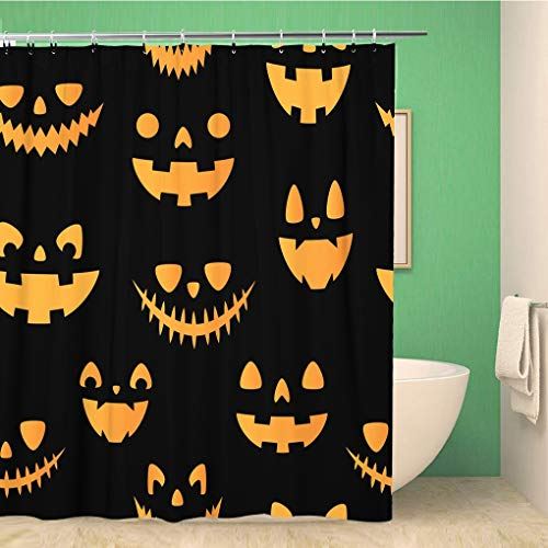 Awowee Bathroom Shower Curtain Halloween Autumn Fall Cute Vector Seamless Pattern with Pumpkins All Polyester Fabric 72x78 inches Waterproof Bath Curtain Set with Hooks]()
