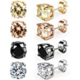 ANBALA Diamond Stainless Steel Earrings with Cubic Zirconia Inlaid, 4 Pairs Round Stud Piercing Earrings for Girls Women Men