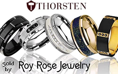 Thorsten ATTOR Round Wedding Band Brushed Finish Black Ceramic Ring 10mm Wide Wedding Band from Roy Rose Jewelry