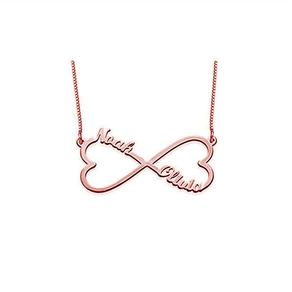 Boknight Personalized Sterling Silver Infinity Pendant Necklace with 2 Names with 2 Heart 14 to 22 Custom for Girlfriends