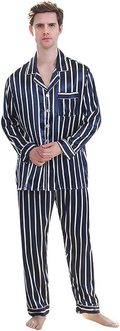 Men/'s 100/%Cotton Long Sleeve Striped Nightshirts Bathrobe Pajamas Pjs Sleepwear