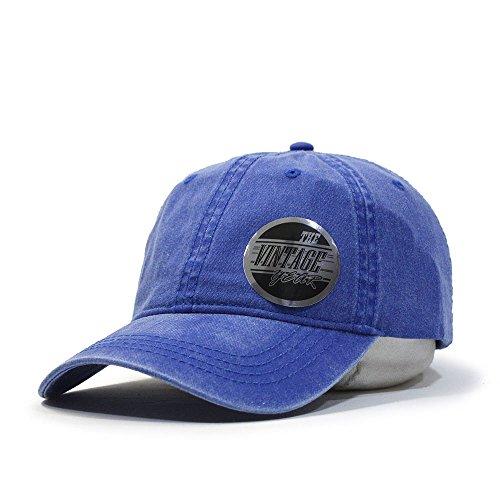 Plain Washed Dyed Cotton Twill Low Profile Adjustable Baseball Cap (Royal) ()
