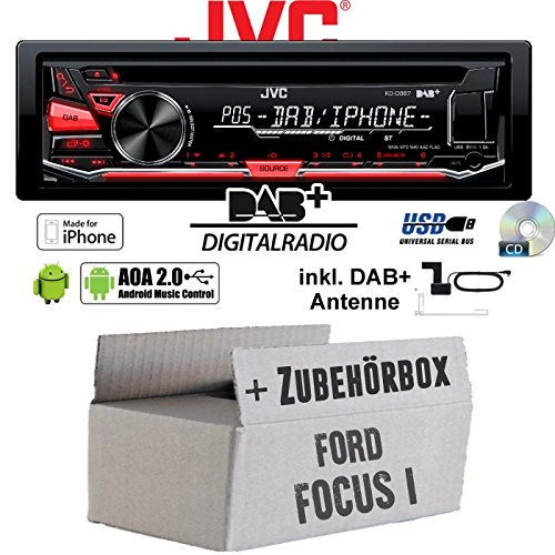 Ford Focus 1 - JVC KD-DB67 - DAB+ USB Autoradio inkl. DAB+ Digitalradio Antenne - Einbauset JUST SOUND best choice for caraudio KD-DB67+Ant