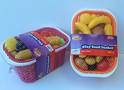 Plastic Play Food and Shopping Basket 40 Pieces