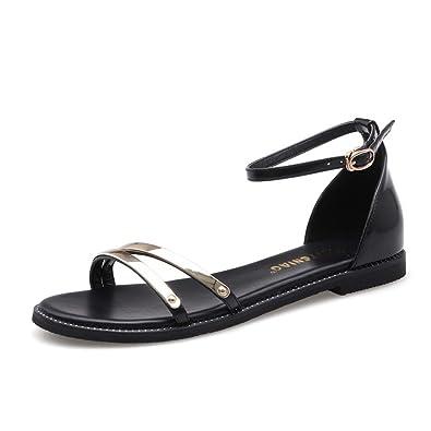MeiMei Sandalen Weiblichen Clip Toe Flach mit Einem Flachen Base Perlen von Feld- und o63s3