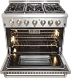 """Kucht KRD366F Professional 36"""" 5.2 cu. ft. Dual Fuel Range for Natural Gas, Stainless-Steel"""