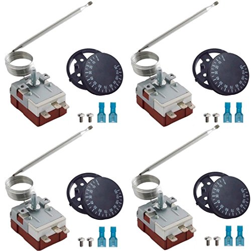 American Volt 4-pack Adjustable Electric Fan Thermostat Switch Temperature Control Adjusting (Capillary Tube Thermostat)