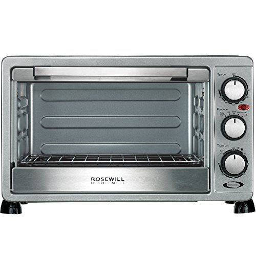 Rosewill 6 Slice Convection Toaster Oven Countertop, Stainless Steel, Large Capacity for 12 Inch Pizza with Bakeware Pan Broiler Rack RHTO-17001 (Specialty Toaster)