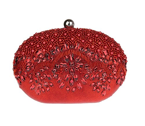 Women's Beaded Sequin Metal Frame Kissing Lock Satin Interior Evening Clutch Bag