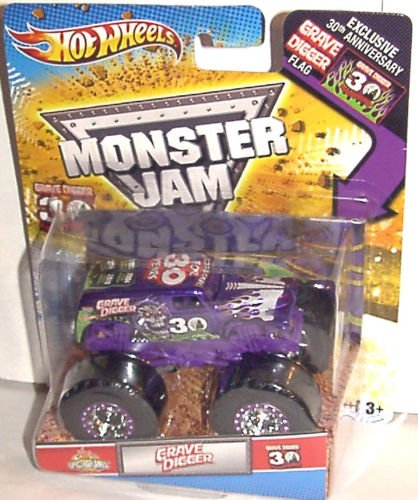 Hot Wheels 2012 Grave Digger 30TH Anniversary 1:64 SPECTRAFLAME Purple Grave Digger Monster JAM Truck with Exclusive 30TH ANNV. Grave Digger Flag (Hot Wheels Monster Jam Grave Digger 30th Anniversary)