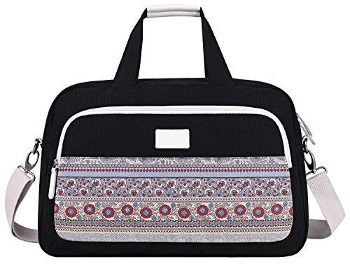 ArcEnCiel Weekend Travel Bag Ladies Women Duffle Tote Bags Canvas Overnight Pack (Black) from ArcEnCiel