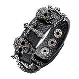 Szxc Jewelry Women's Black Leather Crystal Skull Cross Adjustable Bangel Bracelet Biker Jewelry