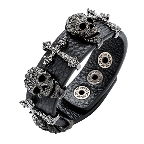 Szxc Jewelry Women's Black Leather Crystal Skull Cross Adjustable Bangel Bracelet Biker Jewelry
