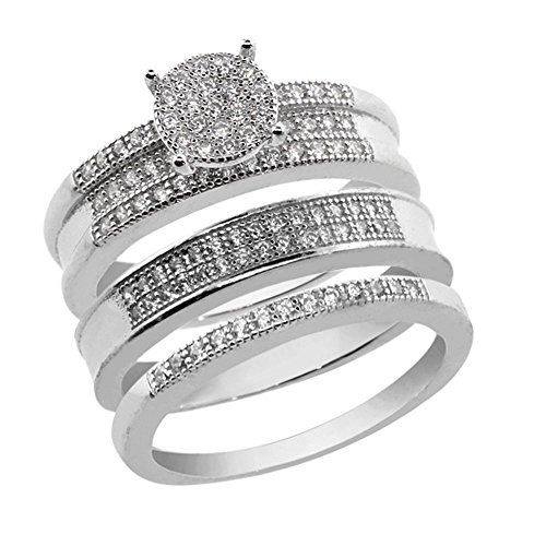 Gem Stone King His and Hers 3 Pieces Sterling Silver and CZ Engagement Wedding Trio Set - Stone Ring 3 Engagement Cz