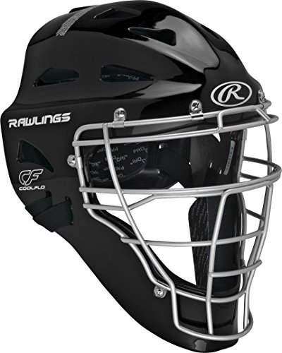 Rawlings  Adult Renegade Coolflo Hockey Style Catcher's Helmet, 7 1/8 - 7 3/4, Black/Silver ()