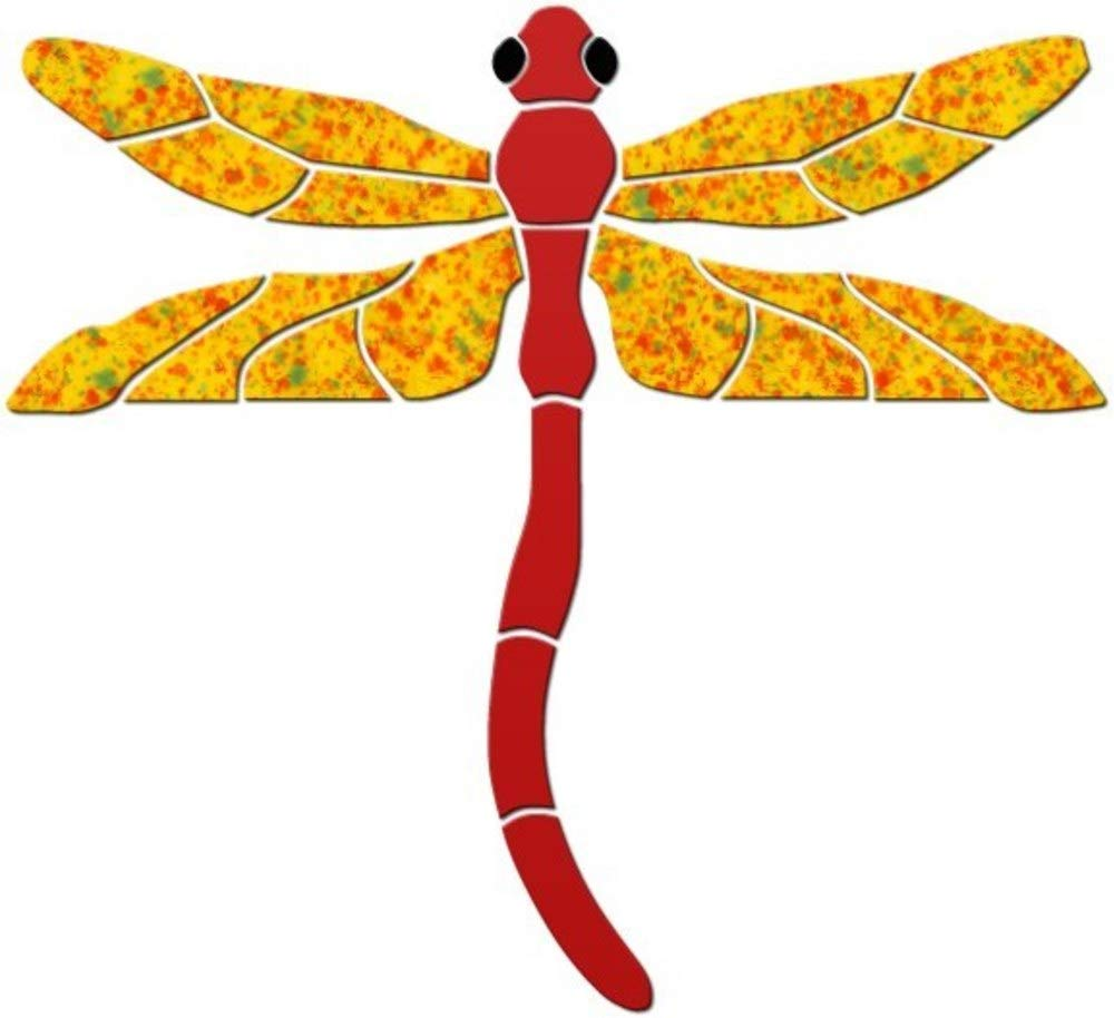 Dragonfly Ceramic Swimming Pool Mosaic (5'' x 5'', Red) by Blue Water Pool Mosaics