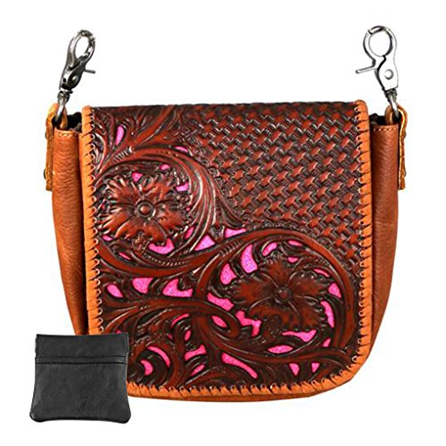 (Handcrafted Leather Convertible Clutch Crossbody Handbag Biker Bag (Brown with Tooled Basketweave))