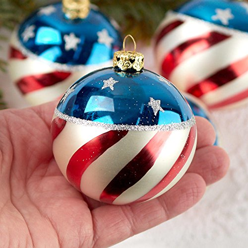Factory Direct Craft Sparkling Patriotic Glass Ball Ornaments | 4 Ornaments | Hand Painted