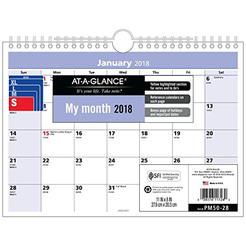 "AT-A-GLANCE Monthly Desk / Wall Calendar, QuickNotes, January 2018 - December 2018, 11"" x 8"", Wirebound (PM5028)"