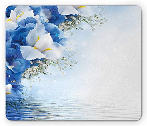 Hydrangea Dreamy (Ambesonne Blue and White Mouse Pad, Blue Hydrangeas and White Irises Over The Sea Romantic Bouquet Dreamy, Standard Size Rectangle Non-Slip Rubber Mousepad, Blue White Yellow)