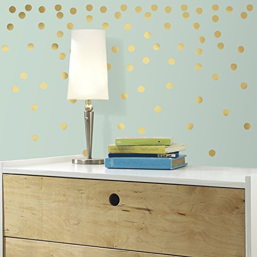 RoomMates RMK3073SCS Gold Confetti Dots Peel and Stick Wall (Gold Confetti Dots)