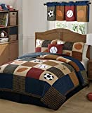 Laura Hart Kids Classic Sports Quilt with Pillow Sham, Twin