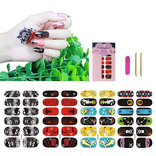 Halloween Nail Art Wraps Stickers Self Stick for Women Girls Kids, VIWIEU Holiday Nail Strips Designs 4 Sheets for Fake Nails, DIY Manicure Set Supplies for Costume Party