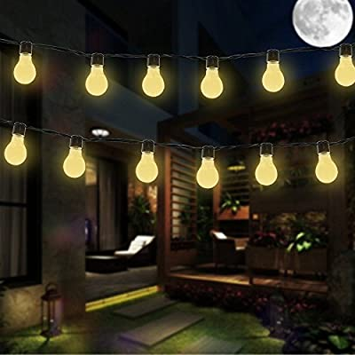 DINOWIN Solar Bulb Lights, 3.5M 10 LED Plastic Solar Bulbs String Lights Waterproof with 2 Modes Lighting for Outdoor, Garden, Christmas Decorations (Warm White)
