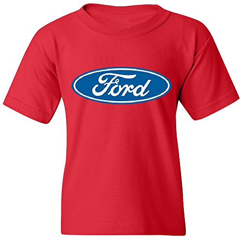 Amazing Items Ford Blue Oval Logo Unisex Youth T-Shirt, Large, Red (Ford Items)