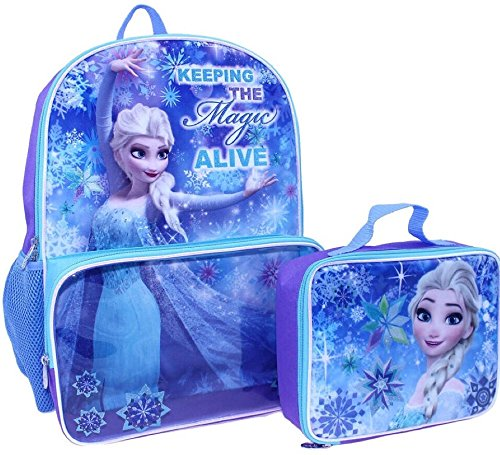 Disney's Frozen Elsa Backpack with Clear Pocket Lunchbox Bag